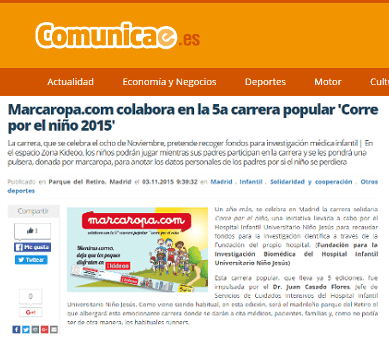 "Marcaropa.com collaborates on the 5th popular race ""Run for the child 2015."""